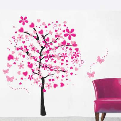 Pink heart tree Decal