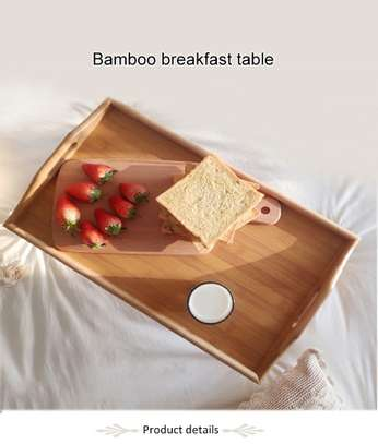 Foldable Portable Breakfast Bamboo Tray Table with Stand