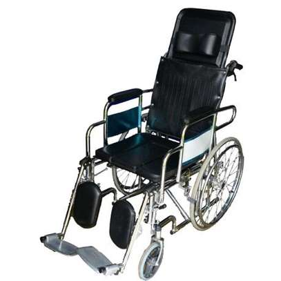 Reclining commode wheelchair/toilet image 1