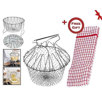 Chef Buddy Stainless Steel Steam / Fry / Wash Strain Basket (+ Free Gift Hand Towel).