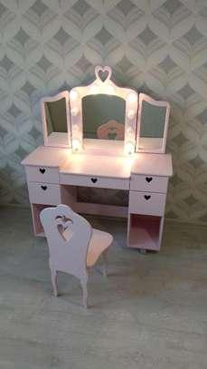 Pink dressing mirror designs/kid dressing tables with mirror/latest dressers /kid's Furniture stores in Nairobi Kenya/best wood Workshops in Nairobi Kenya/bed set image 1