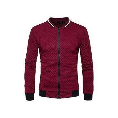 Color Zipper Collar Sweater Coat Off -Red image 1