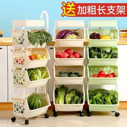 Multi-function paws Vegetable rack with wheels and top rack image 1