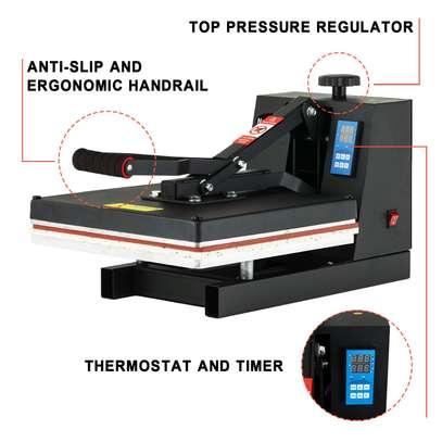 Digital Heat Presses, Power Vinyl Sublimation Printing Press, 1400W Industrial Heat Transfer Machine for T-Shirt, Mouse Pad, Canvas Bags, Tablecloth, Banner image 2