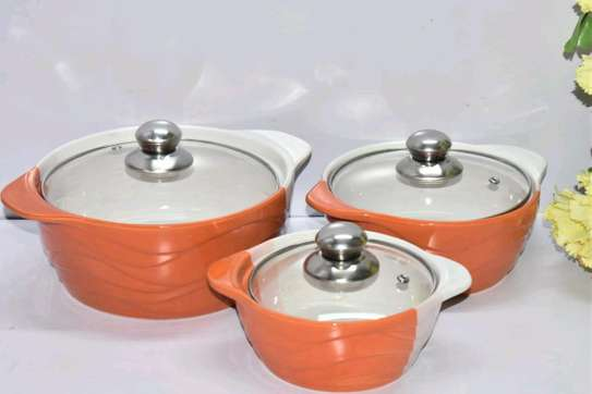 *3pcs set Ceramic serving dishes with glass cover image 1