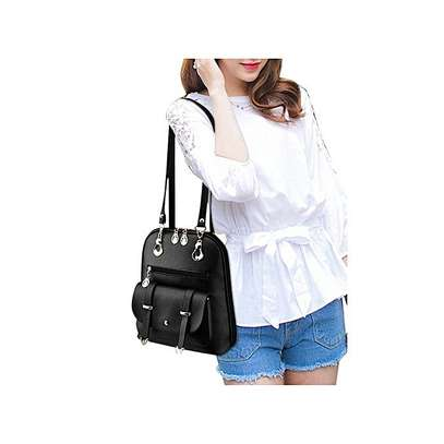 Bagsdiva Women's Casual Backpack Concise Preppy Style PU Leather Shoulder Bag with Bear Pendant,Black image 3