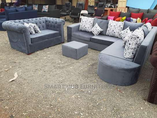 L Shape Sofa With 2 Seater Chesterfield image 1