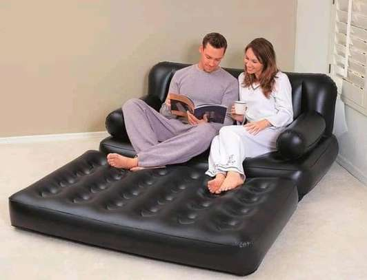 *2 seater inflatable pullout sofa with electric pump image 1