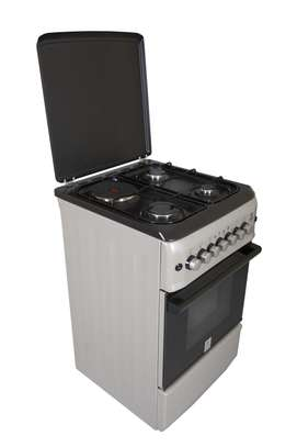 Mika Standing Cooker, 50cm X 55cm, 3 + 1, Electric Oven, Silver image 1