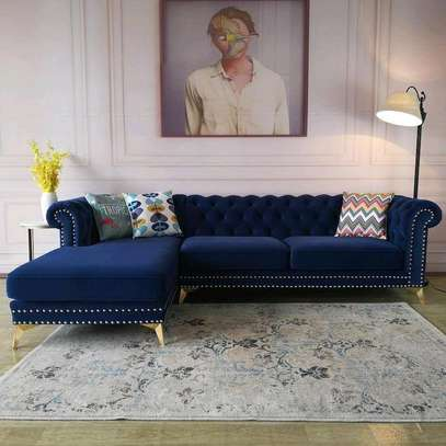 Blue L shaped chesterfield sofa set designs for sale in Nairobi Kenya/Five seater L shaped sofas image 1