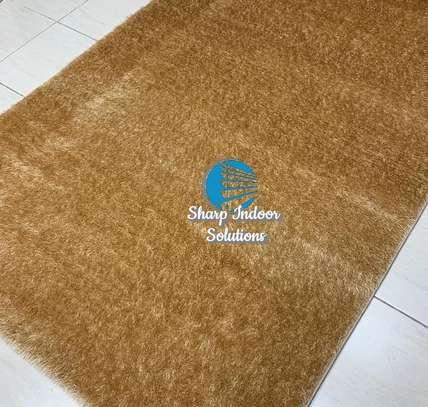 Brown fluffy soft carpet image 1