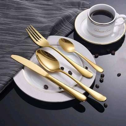 24pc golden cutlery set/24pc cutlery set image 1