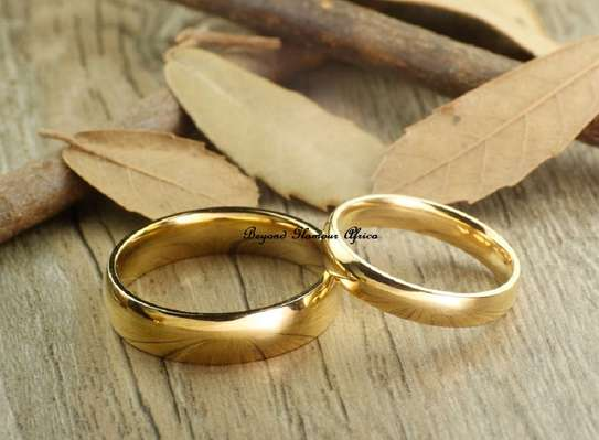 Two gold plated band ring 2 and 2.5cm diameter image 1