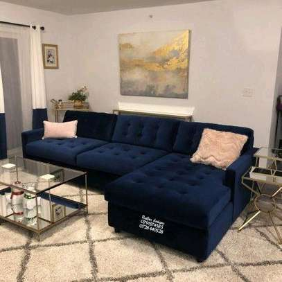 Blue L shaped sofas/six seater sofa/blue sofas image 1