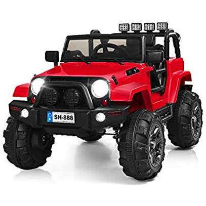 12V Jeep Kids Electric Rechargeable Remote Control Ride On Car- WHITE AND RED image 2
