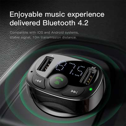 Baseus Dual USB 3.4A Car Charger MP3 Audio Player FM Transmitter Handsfree Aux Modulator Mobile Phone Charger image 4