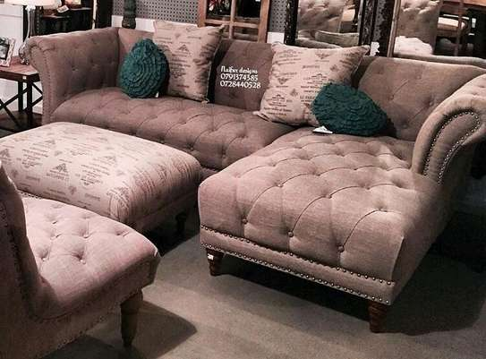 L shaped sofas/tufted sofas/four seater sofas/footrest puff image 1