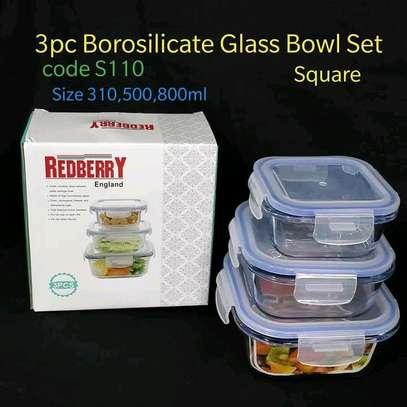 Red berry borosilicate glass bowls image 1