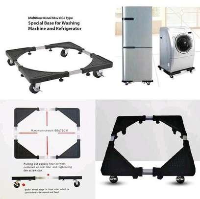 Metallic fridge base with wheels image 1
