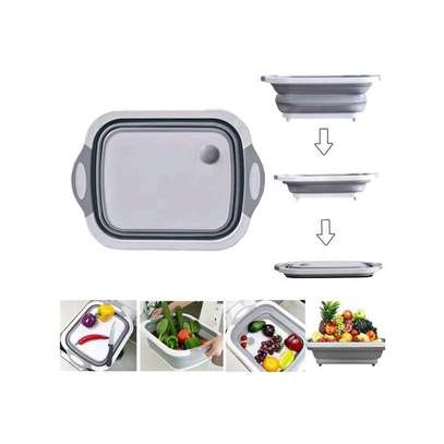 Collapsible Foldable Chopping Board, Trough And Drainer image 1