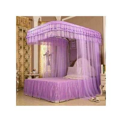 Mosquito Net With 2 Stands with rails - Purple image 1