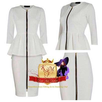 Front Zip Pencil Skirt and Peplum Top Suit image 1