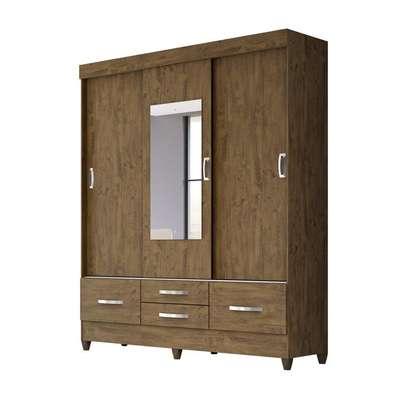 Wardrobe with 4 Drawers & 3 Sliding Doors image 1