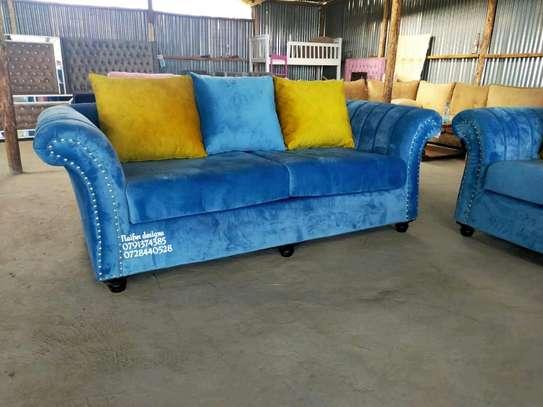 Three seater sofa designs/blue three seater sofa image 1