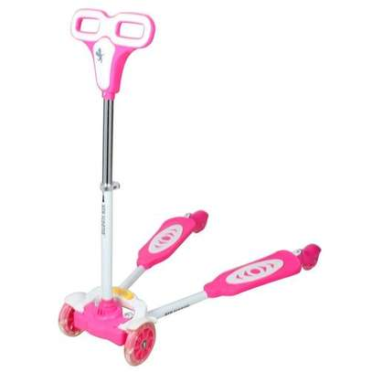Portable,Foldable And Height Adjustable 4 Wheel Frog Scooter For Kids - Pink image 1