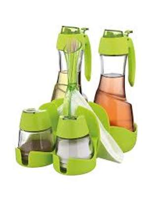 Oil Vinegar Salt Pepper Shaker Set With Toothpicks Serviettes Holder - Green and red image 2