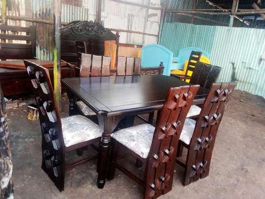 6-Seater-Mahogany-Wood Dining set image 1