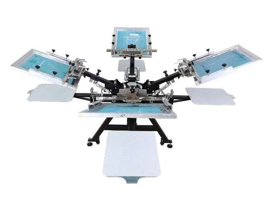 Our best 4 Color 4 Station Single Rotary Screen Press