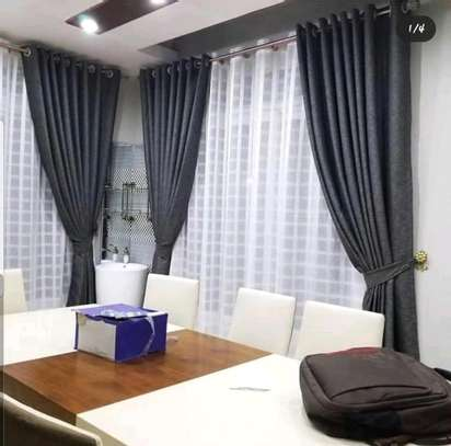 GREY CURTAINS WITH WHITE SHEERS image 1