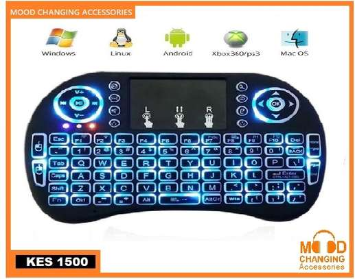 Wireless Mini Keyboard with Touch Pad Mouse and LED Light – Black image 5