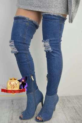 Designer Denim Peeptoe Stiletto Boots From UK image 4
