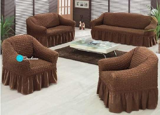 5 seater dark brown elastic sofa covers image 1