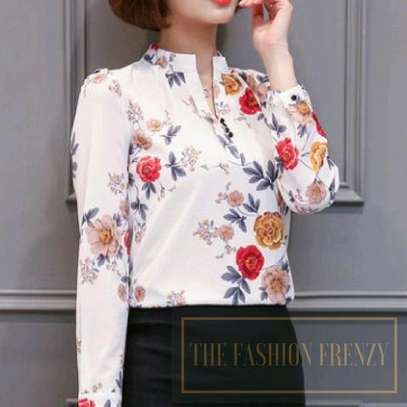 Red and White Floral blouse