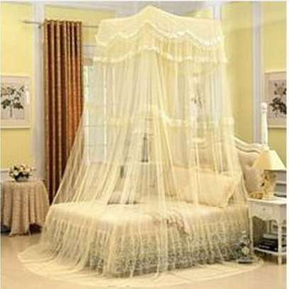 Strong Square Top Mosquito Net Free Size For Double Decker And All Types Of Beds - Cream image 1