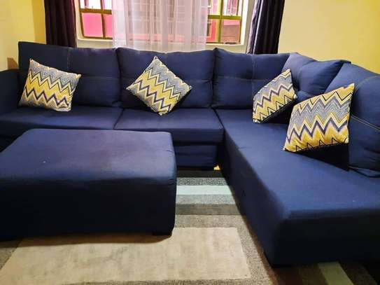 L shaped 7 seaters sofa with1 meter foot rest stool image 1