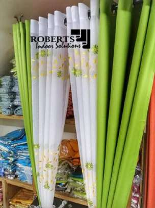 curtains green with flowery matching sheers image 1