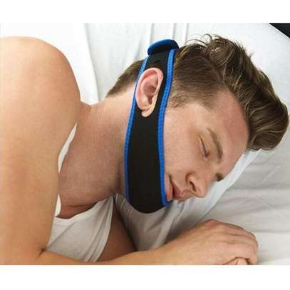 Anti Snore Chin Strap Care Sleep Stop Snoring Belt Chin Jaw Supporter Apnea Belt  - Blue image 1