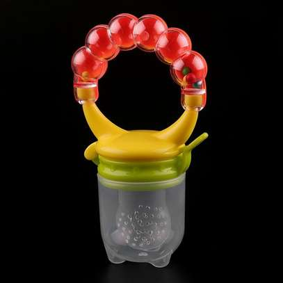 Silicone Baby Fruit Feeder Pacifier with Teething Rattle Toy image 3