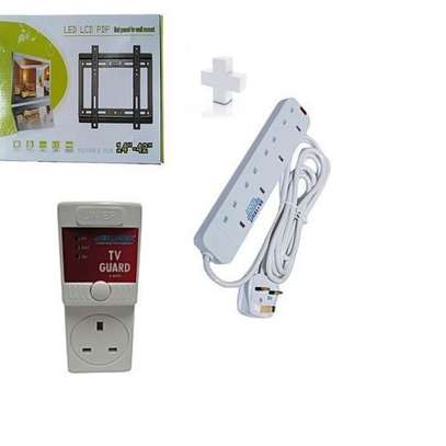Wall Mounting Bracket for 14 - 42 TV plus free Tv guard and free heavy duty 4way extension. image 1