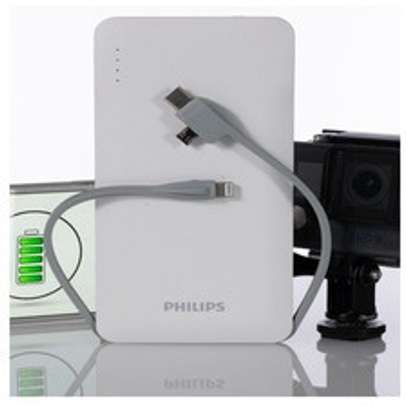 Philips Portable 10000mah Powerbank With Built In 3in1 Lightning & Micro Usb & Type-C, 3 Usb Output Lithium Polymer Powerbank image 1
