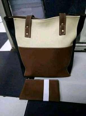 Ladies tote handbag,brown&white image 1
