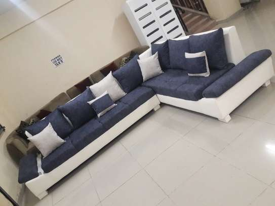 Great blue-white L-shape sofa, 5 or 7 seater image 1