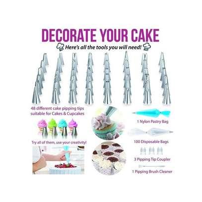 206 Pcs Turntable Cake Decorating Tip Nozzle Pastry Bag Set image 2