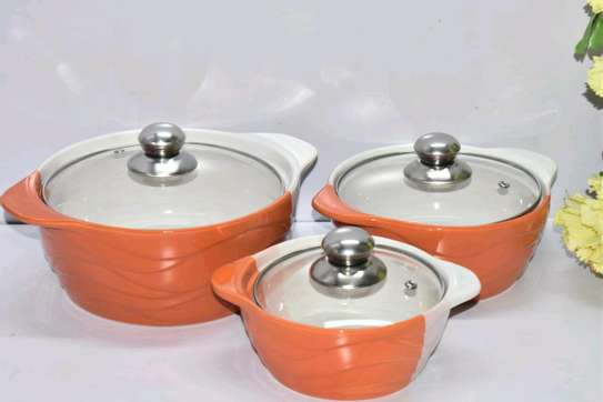 3pcs Ceramic Serving Dishes with Glass Cover image 1