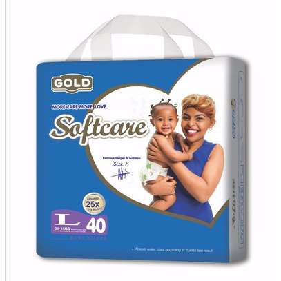 Softcare Baby Diapers Large(9-15Kg),Count 40pcs image 1