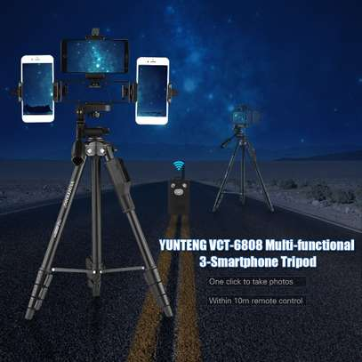 YUNTENG VCT-6808 Multi-functional Tripod for Phone with 3 Phone Holders 4-Section Telescoping Tripod Ball Head Remote Controller image 10